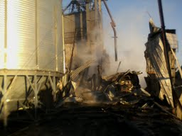 Fire at the grain elevator in Abercrombie, N.D.
