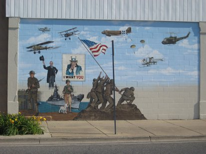 Terre Haute Vet Museum pic 3 partially finished mural outside building on Wabash