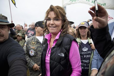 "Former Alaska Governor Sarah Palin arrives at the ""Million Vet March on the Memorials"" at the U.S. National World War II Memorial in Washing"