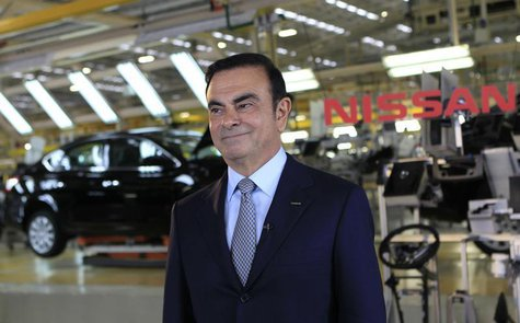 Nissan Chief Executive Carlos Ghosn smiles during an interview with Reuters at the company's new plant in Aguascalientes, Mexico, November 1