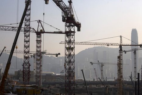 A general view of a construction site for luxury residential apartments at the reclaimed West Kowloon in Hong Kong October 25, 2013. REUTERS