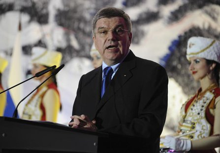 International Olympic Committee (IOC) President Thomas Bach speaks during the opening of conference on sport and the environment in Sochi Oc