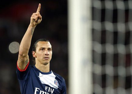Paris St Germain's Zlatan Ibrahimovic celebrates after scoring against Nice during his French Ligue 1 soccer match at the Parc des Princes S