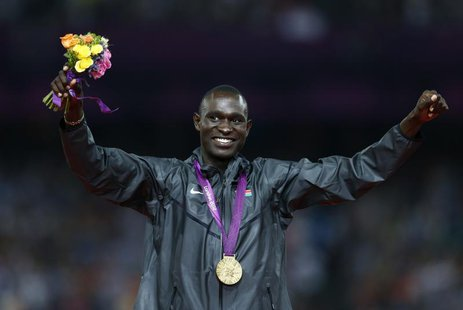 Gold medallist David Lekuta Rudisha of Kenya celebrates during the presentation ceremony for the men's 800m event at the London 2012 Olympic