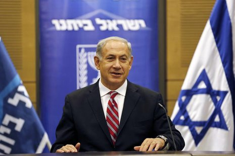Israel's Prime Minister Benjamin Netanyahu attends a Likud-Beitenu faction meeting at the Knesset, the Israeli parliament, in Jerusalem Nove