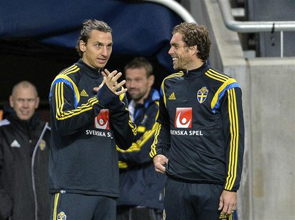 Sweden's Zlatan Ibrahimovic (L) talks to teammate Johan Elmander during a soccer training session at Friends Arena in Stockholm November 13,