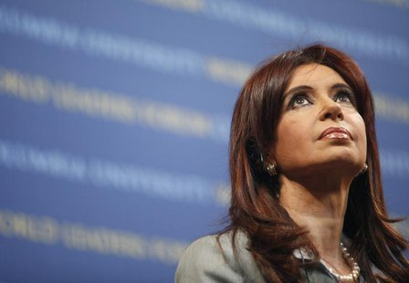 Argentina's President Cristina Fernandez speaks at the 2009 World Leaders Forum at Columbia University in New York September 21, 2009. REUTE
