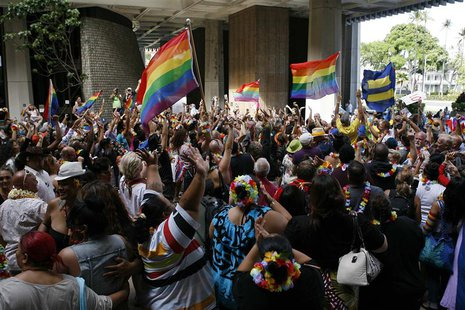 Supporters of same-sex marriage celebrate after the Hawaii State Senate approved a bill allowing same-sex marriage to be legal in the state