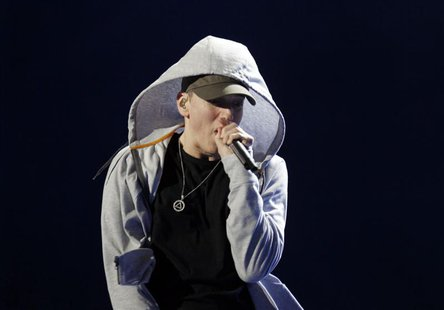 U.S. rapper Eminem performs during the Abu Dhabi F1 Grand Prix After Race closing concert at the du Arena on Yas Island November 4, 2012. RE