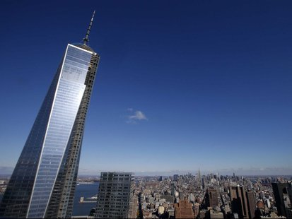 The One World Trade Center tower (L) is visible in this general view of Manhattan.  Reuters/Mike Segar