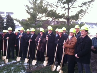 Governor Walker (fourth from right) joins in groundbreaking