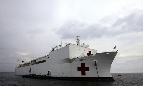 The USNS Mercy hospital ship is anchored in Manila Bay May 21, 2006. REUTERS/Darren Whiteside