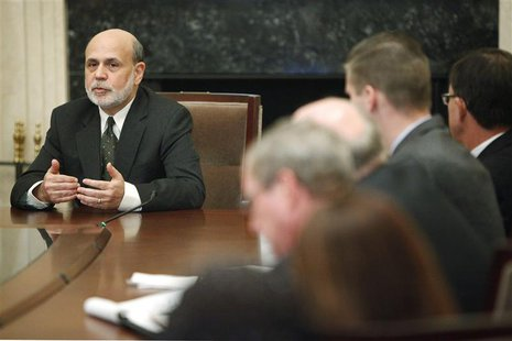 U.S. Federal Reserve Chairman Ben Bernanke addresses a town hall event for teachers at the Federal Reserve Board's building in Washington No