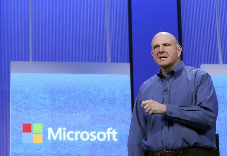 "Microsoft CEO Steve Ballmer speaks during his keynote address at the Microsoft ""Build"" conference in San Francisco, California June 26, 2013"