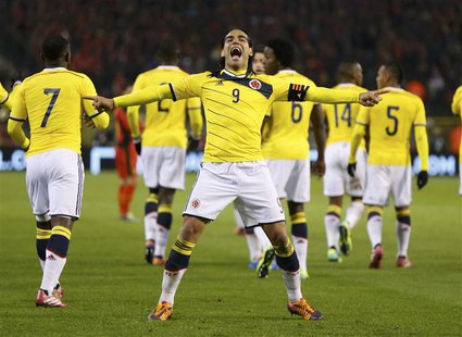 Colombia's Radamel Falcao celebrates his goal against Belgium during their international friendly soccer match at King Baudouin Stadium in B