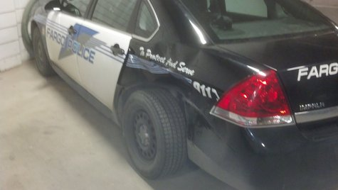 Fargo police car rammed