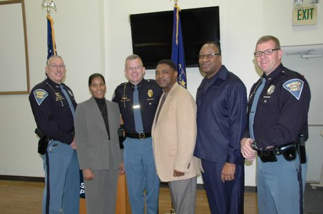 Pictured from left to right, Master Trooper Mike Hemphill, Sergeant Wanda Clay, Superintendent Douglas G. Carter, Master Trooper Erik Gilliam, Master Trooper Lionel Douglas, and Master Trooper Dave Eggers