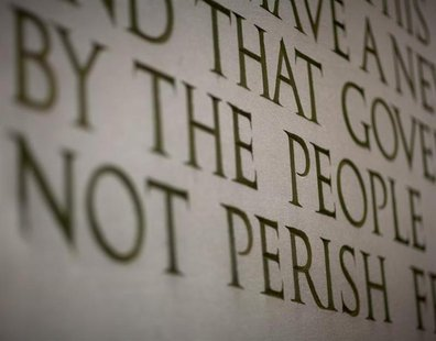 "A line from Abraham Lincoln's ""Gettysburg Address"" is displayed at the Lincoln Memorial ahead of celebrations commemorating the 200th annive"