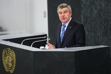 International Olympic Committee (IOC) President Thomas Bach addresses the 44th plenary meeting of the United Nations General Assembly to sup