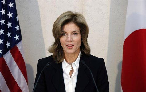 Newly appointed U.S. ambassador to Japan Caroline Kennedy gives a statement shortly after her arrival in Japan at Narita International Airpo