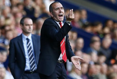 Former Sunderland manager Paolo Di Canio gestures during their English Premier League soccer match against West Bromwich Albion at The Hawth