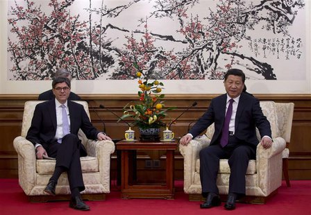 U.S. Treasury Secretary Jack Lew (L) attends a meeting with Chinese President Xi Jinping at the Diaoyutai State Guesthouse in Beijing, Novem