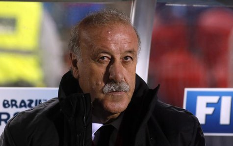 Spain's coach Vicente del Bosque sits in the bench before their 2014 World Cup qualifying soccer match against Belarus at Son Moix stadium i