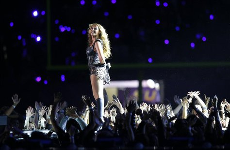 Beyonce and Destiny's Child perform during the half-time show of the NFL Super Bowl XLVII football game in New Orleans, Louisiana, in this F