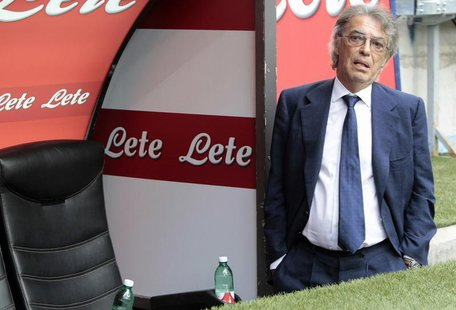 Inter Milan's president Massimo Moratti looks on before the start of their Italian Serie A soccer match against Genoa at the San Siro stadiu