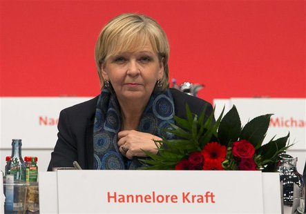 Northrhine-Westphalia State Premier Hannelore Kraft of the Social Democratic Party (SPD) attends a SPD party congress in Leipzig, November 1