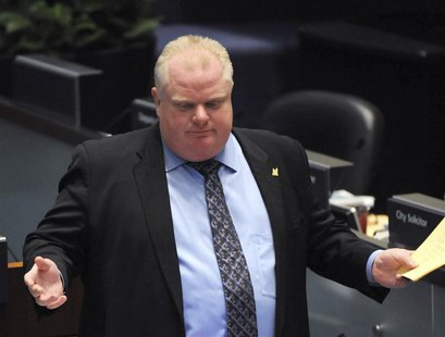 Toronto Mayor Rob Ford speaks during a city council meeting at City Hall in Toronto November 15, 2013. REUTERS/Jon Blacker