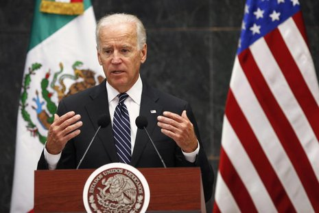U.S. Vice President Joe Biden speaks after a meeting with Mexico's President Enrique Pena Nieto at Los Pinos Presidential Residence in Mexic