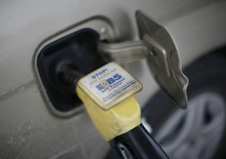 E85 ethanol fuel is shown being pumped into a vehicle at a gas station selling alternative fuels in the town of Nevada, Iowa, December 6, 20