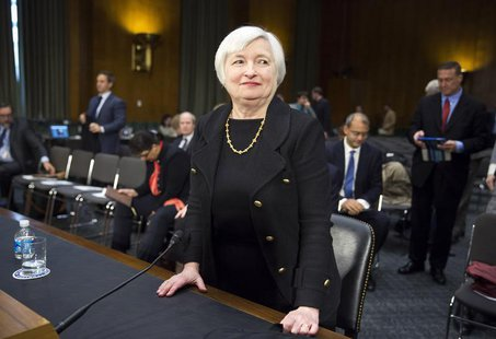 U.S. Federal Reserve Vice Chair Janet Yellen stands after testifying during a confirmation hearing on her nomination to be the next chairman