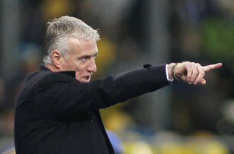 France's coach Didier Deschamps gestures during the 2014 World Cup qualifying first leg playoff soccer match against Ukraine at the Olympic