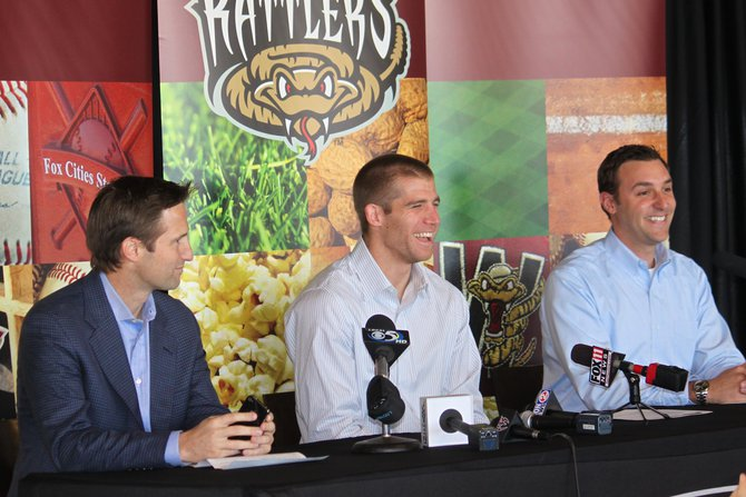 Jordy Nelson at the announcement of the Jordy Nelson Charity Softball Game set for June 8 at Fox Cities Stadium in Appleton featuring the Packers offense vs. defense