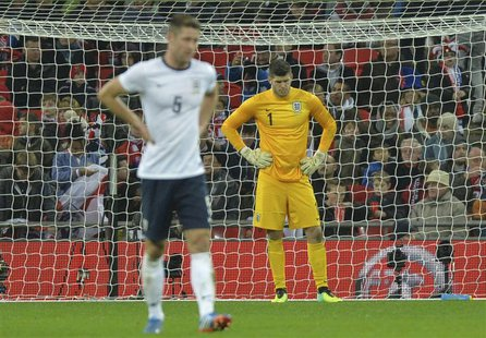 England's goalkeeper Fraser Forster looks down after a goal by Chile's Alexis Sanchez during their international friendly soccer match at We