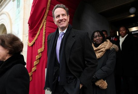 Outgoing U.S. Treasury Secretary Timothy Geithner arrives for the presidential inauguration on the West Front of the U.S. Capitol in Washing