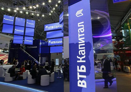 A booth from Russian state-controlled bank VTB is seen during the St. Petersburg International Economic Forum, June 20, 2013. REUTERS/Alexan