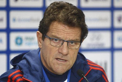 Russia's national team head coach Fabio Capello speaks during a news conference ahead of their 2014 World Cup qualifying soccer match agains