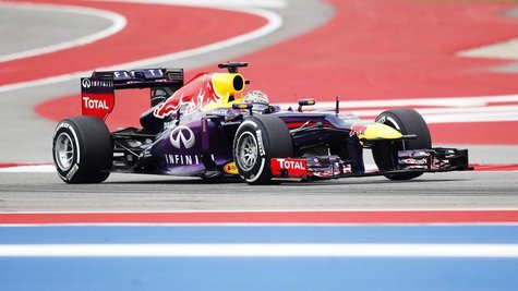 Red Bull Formula One driver Sebastian Vettel of Germany drives during the third practice session of the U.S. F1 Grand Prix at the Circuit of