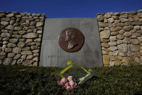 Flowers are left at the memorial for U.S. President John F. Kennedy in Hyannis, Massachusetts November 14, 2013. November 22 will mark the 5