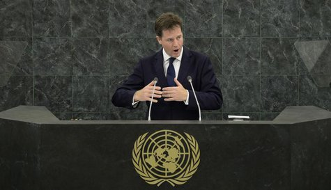 Deputy Prime Minister of the United Kingdom Nick Clegg addresses the 68th United Nations General Assembly at U.N. headquarters in New York,