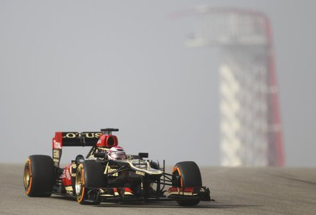 Lotus Formula One driver Heikki Kovalainen of Finland drives during the first practice session of the Austin F1 Grand Prix at the Circuit of