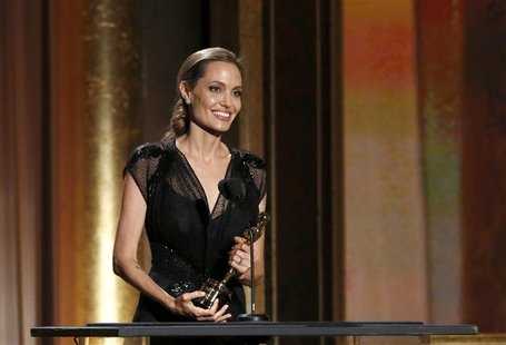 Actress Angelina Jolie accepts the Jean Hersholt Humanitarian Award at the 5th Annual Academy of Motion Picture Arts and Sciences Governors