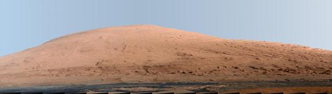 A portion of Mount Sharp, on Mars is pictured in this panorama made from a mosaic of images taken by the Mast Camera (Mastcam) on NASA's Mar