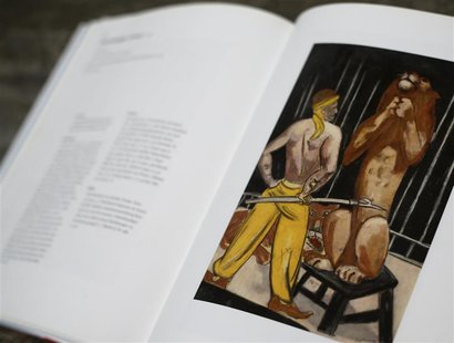File photo of a print of the painting 'Lion-Tamer' by artist Max Beckmann is displayed in a book about the German expressionist at Lempertz