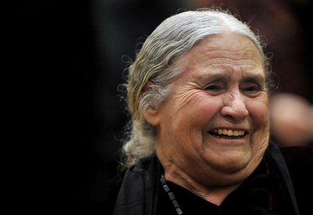 British novelist Doris Lessing laughs as she waits to receive the Nobel Prize for Literature at the Wallace Collection in London January 30,