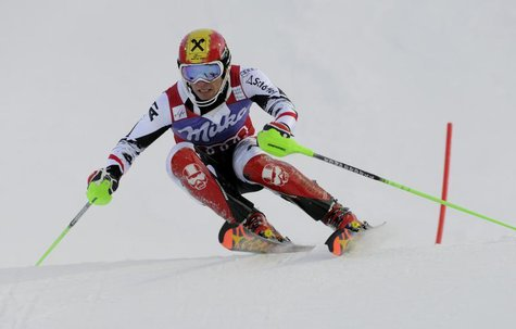 Austria's Marcel Hirscher competes during the first run of the men's slalom of the FIS Alpine Ski World Cup in Levi, Finnish Lapland, Novemb