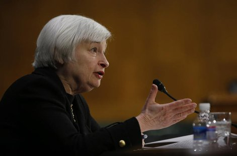 U.S. Federal Reserve Vice Chair Janet Yellen testifies during a Senate Banking Committee confirmation hearing on her nomination to be the ne
